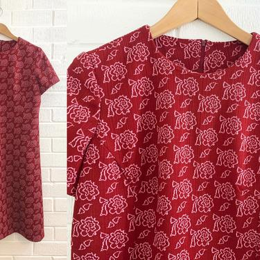 True Vintage Red Roses Shift Dress 1960s 60s 70s Short Sleeve Burgundy Scooter Pink Floral Flower Pattern Large XL Plus Size Curvy Volup by CheckEngineVintage