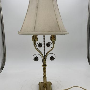 Hollywood Regency Brass Scrolling Griffin Table Lamp w/ Original Lamp Shade by HarveysonBeverly