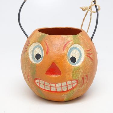 Vintage Bethany Lowe Halloween Mini Bucket, Orange Hand Painted Paper Mache Jack-O-Lantern Candy Basket, Original Tag by exploremag