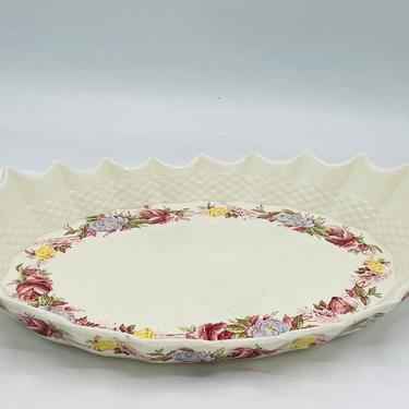 Copeland England Platter: Briar Rose pattern platter w pointed edges & basket by JoAnntiques