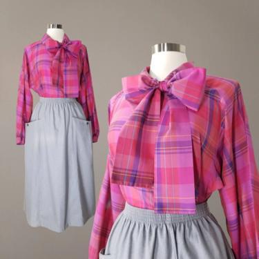 Vintage Pussy Bow Plaid Blouse, Medium / Silk Blend Scarf Collar Blouse / Raglan Long Sleeve Button Blouse / Pink Plaid Dress Blouse by SoughtClothier