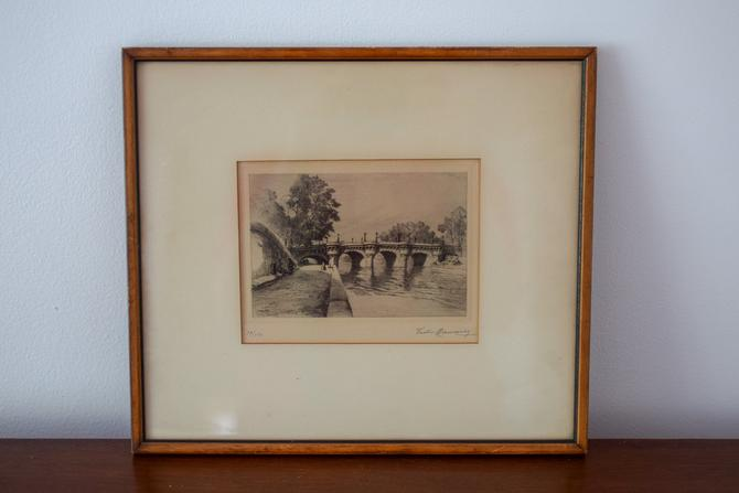 Original Framed Vintage Pencil Etching of Paris by Victor Maunier dated 1934 by CapitolVintageCharm