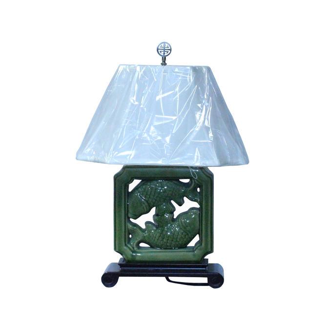Oriental Green Ceramic Tile Shape Double Fishes Table Lamp ws1361E by GoldenLotusAntiques