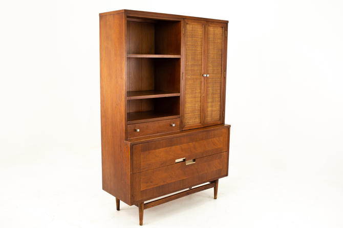 Merton Gershun for American of Martinsville Mid Century 2 Piece Walnut and Rattan China Cabinet Display Shelving - mcm by ModernHill