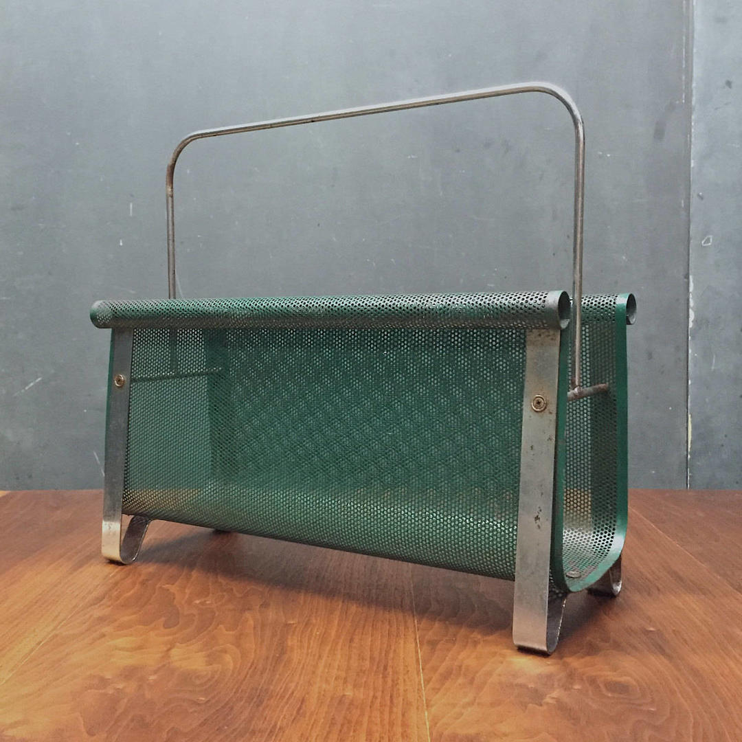Rare 1960s Smith Tepper Sundberg Mid Century Architectural Perforated Metal Magazine Rack Rare