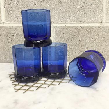Vintage Whiskey Glass Set Retro 1980s Anchor Hocking + Contemporary + Blue Glass + Octagon Shape + Set of 4 + Barware + Kitchen Drinking by RetrospectVintage215