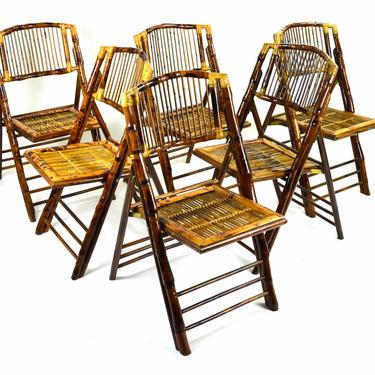 Set 6 Vintage Tiki Tortoise Shell Bamboo Cane Rattan Folding Chairs by PrairielandArt