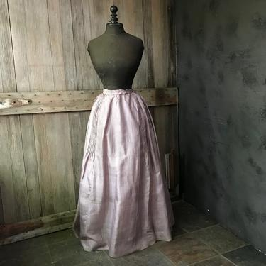 19th C French Silk Skirt, Lavender Floral, Victorian, Bustle, Period Clothing by JansVintageStuff