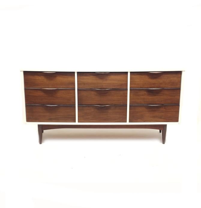 Vintage MCM Lowboy In White and Wood by minthome