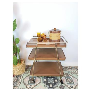 Vintage Hamilton Cosco Convertible Bar Cart Faux Wood Grain | MCM Metal 3-Tier Rolling Tea, Kitchen, Beverage, Serving Cart on Caster Wheels by SavageCactusCo