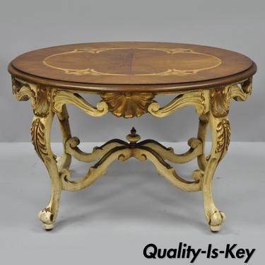 Antique French Louis XV Small Oval Coffee Table Satinwood Inlay - Antique cream coffee table