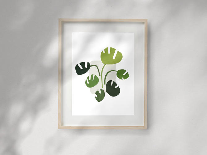 Monstera Deliciosa Print (Giclée Fine Art Print) Houseplant Art, Tropical Artwork- Modern Collage Reproduction by MorningPortal