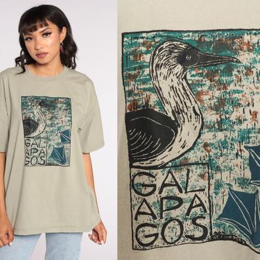 Galapagos Island T Shirt Blue Footed Booby Bird Shirt Graphic Tee Shirt 00s Tshirt Vintage T Shirt Travel Y2K Khaki Large xl l by ShopExile