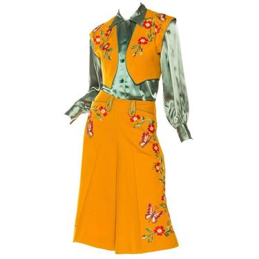 1940S Marge Riley Green  Marigold Yellow Western Embroidered Wool Vest Skirt Suit With Matching Blouse by SHOPMORPHEW