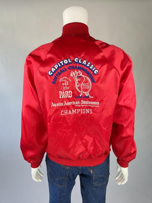 Cool Armadillo 1980's Capitol Classic Red Satin Starter Jacket