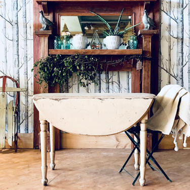 Antique Painted Drop Leaf Table | Rustic Drop Leaf Table | Shabby Chic Drop Leaf Table | Farmhouse | Country | Distressed | Dining Table by PiccadillyPrairie