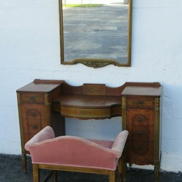 1900s French Carved Hand Painted Bedroom Vanity Table with Mirror and Stool 2463