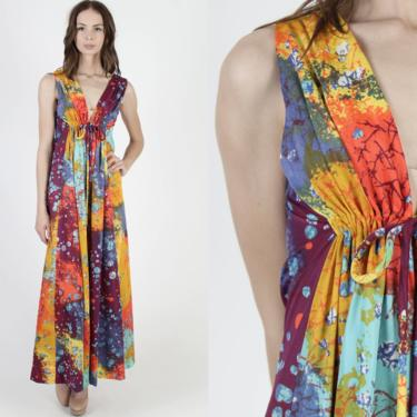 Vintage 70s Psychedelic Floral Dress / Plunging Deep V Neckline / Colorful Watercolor Print Dress / Sexy Disco Lounge Cocktail Party Maxi by americanarchive