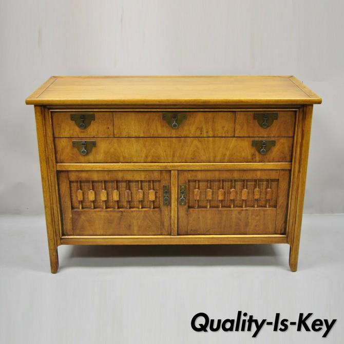 Vintage Mid Century Chinoiserie Fruitwood Buffet Sideboard Credenza Cabinet