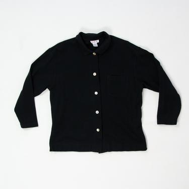 Mollusk Jacket — vintage black cotton jacket / cozy 90s Talbots lightweight shell button coat / XL minimalist oversized slouchy outerwear by fieldery