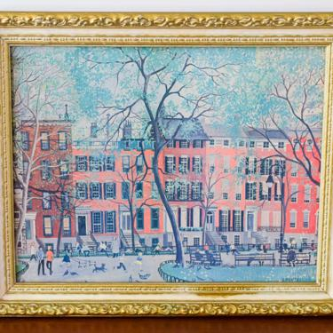 Framed Vintage Print of Post War New York Park by Carol Creutzburg by CapitolVintageCharm