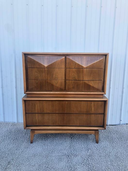 Mid Century Diamond Front Highboy by United