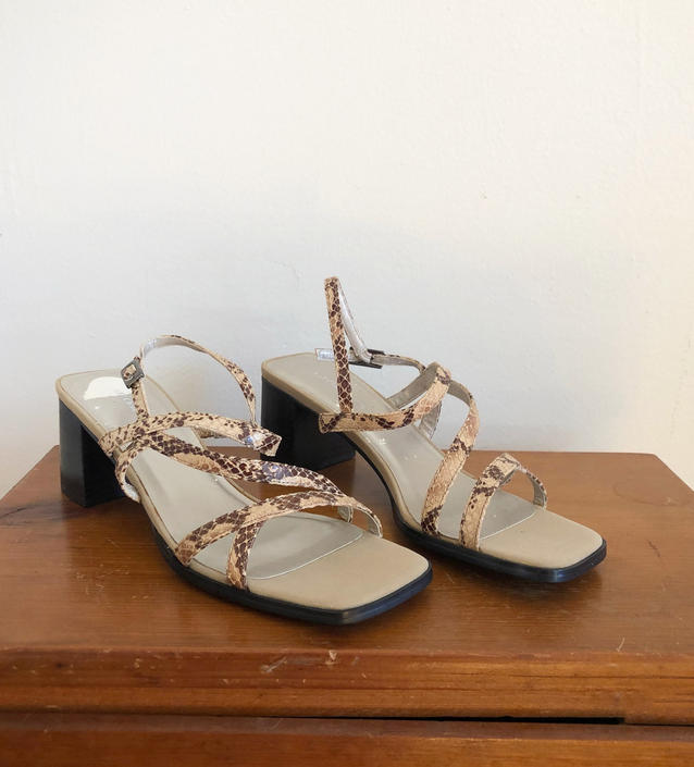 Snakeskin Leather Strappy Heeled Sandals - 1990s - Size 8 by LogansClothing