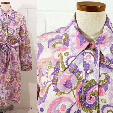 True Vintage Floral Mod Dress Purple Pink 1970s 70s 1960s 60s White Psychedelic Flower Print Long Sleeves Curvy Plus Volup XL XXL Large by CheckEngineVintage