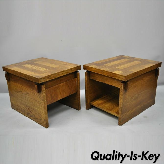 Pair of Vintage Brutalist Lane Mid Century Modern Oak Modernist End Tables
