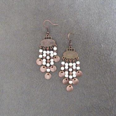 Copper chandelier earrings, boho earrings, geometric dangle earrings, gypsy earrings, unique earrings, bohemian, rustic earrings by Afrocasian