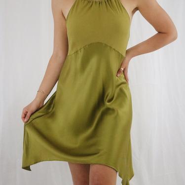 Vintage Olive Green Victoria's Secret Silk Slip Dress - Large by LadyLVintageCo
