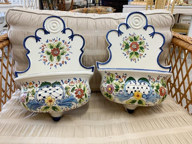 Pair of Gumps Floral Sconces - Made in Italy