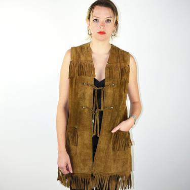 Vintage 70s Leather Suede Vest / 60s Brown Fringe Western Rivets Tassels Jacket / 1960s 1970s / Medium Small / Native American Boho Hippie by ErraticStaticVintage
