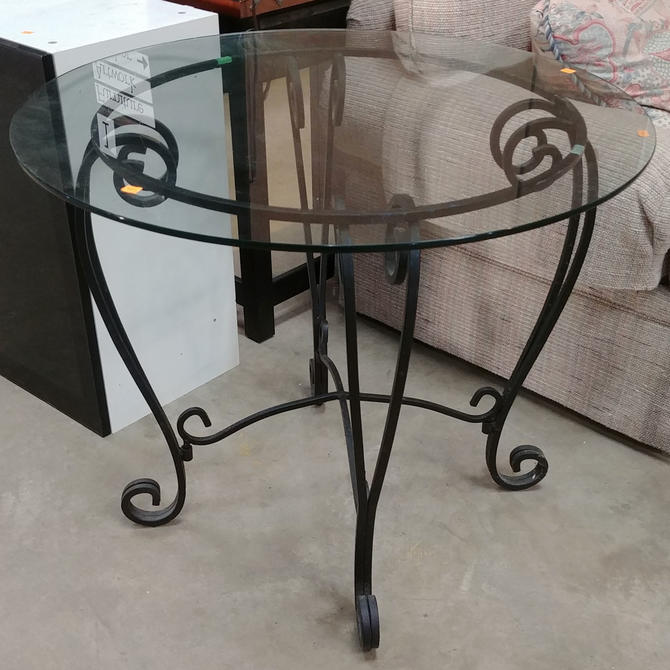 Glass Top Table with Black Metal Base