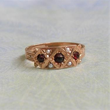 Antique Victorian 12K Gold Pearl and Garnet Ring, Old Victorian Ring With Garnets, Gift for Her, Size 7 (#3902) by keepsakejewels