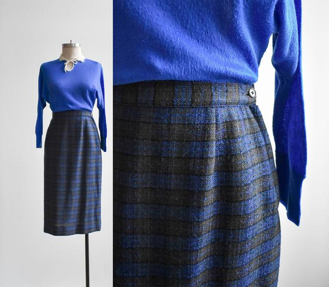 1950s Blue Plaid Pencil Skirt by milkandice