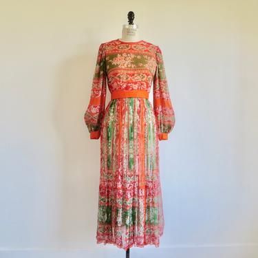 "Vintage 1970's Orange Green Silk Floral Chiffon Long Maxi Dress Long Balloon Sleeves Hostess Gown Boho Hippie Festival 27.5"" Waist Small by seekcollect"