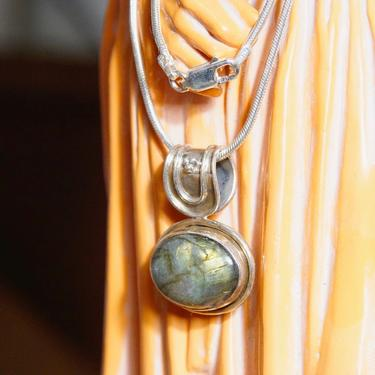 "Vintage Sterling Silver Labradorite Pendant Necklace, 1.5mm Snake Chain Necklace, Iridescent Labradorite Stone, Large Bail, 24"" Long by shopGoodsVintage"
