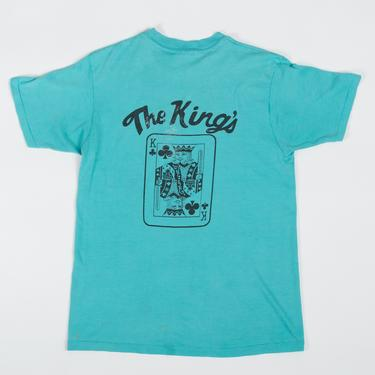 Vintage The King Of Clubs Distressed Tee - Men's Small, Women's Medium | 80s 90s Green Iowa Playing Card Logo T Shirt by FlyingAppleVintage