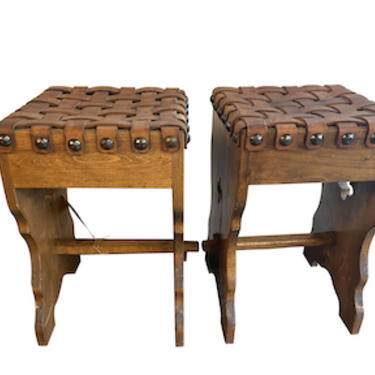 Pair of Woven Stools, France 1930's