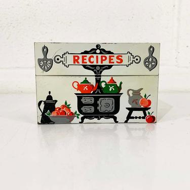 Vintage Metal Recipe Box Silver Chefs 1950s Stylecraft Baltimore Maryland Tin Made in USA Mid Century Recipes by CheckEngineVintage