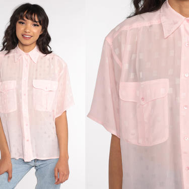 Sheer Baby Pink Blouse 80s Liz Claiborne Shirt Boho Party Cocktail Shirt 1980s Button Up Vintage Bohemian Short Sleeve Oversized 90s Small by ShopExile