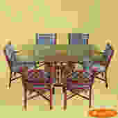 Red Rattan Dining Set With 6 Chairs
