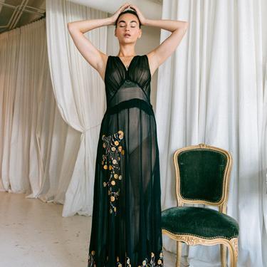 RARE! 1930s Crepe chiffon appliquéd gown Art Deco OOAK Antique by DevoreVintage