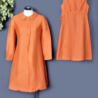 60's Orange SET Coat & Dress, Peach, Vintage Matching Dress Set, 1960's Shift Dress, Evening Coat MOD, Pastel, Womens Suit, Size Small by Boutique369