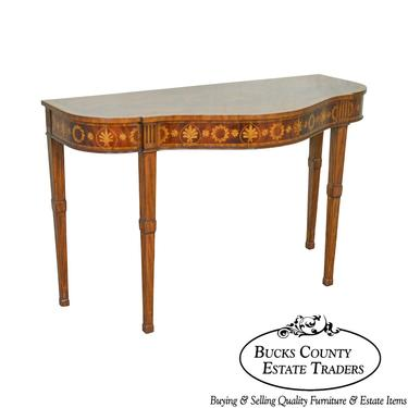 Maitland Smith Flame Mahogany Serpentine Inlaid Console Table by BucksEstateTraders