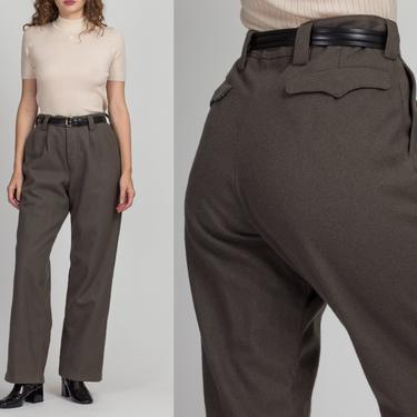 "Vintage Olive High Waist Wool Unisex Trousers - 31"" Waist | 90s German Army Green Minimalist Military Pants by FlyingAppleVintage"
