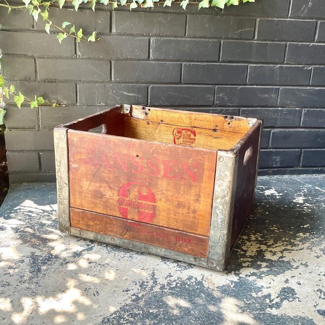 Vintage Antique Janssen Soda Crate or Milk Bottle Industrial Steel + Wood 1950s 10-56 1956 New York Northampton Mass by BrainWashington