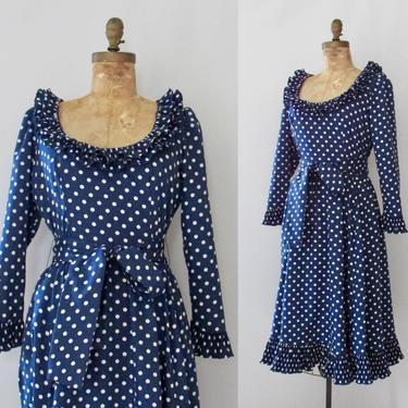 SPOT ON Victor Costa Vintage 80s Dress | 1980s Blue and White Polka Dot Designer Cocktail Dress | Ruffled Fit & Flare Midi Length | Medium by lovestreetsf