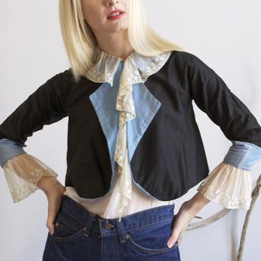 antique Edwardian cropped blue jacket & lace / XXS by EELT